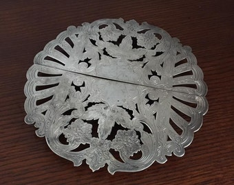 Vintage Wallace Silver Plate Silverplate Fancy Filigree Expandable Trivet Footed Ornate Hot Plate 7332