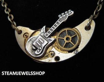 Men guitar necklace or women