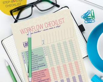 Workflow Checklist. Planning and Organizational Form - Photoshop Template for photographers (WKF03) - INSTANT DOWNLOAD
