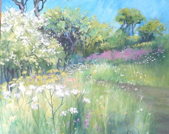 Acrylic landscape on box canvas -May, edge of the field. By Cynthia Greenslade.