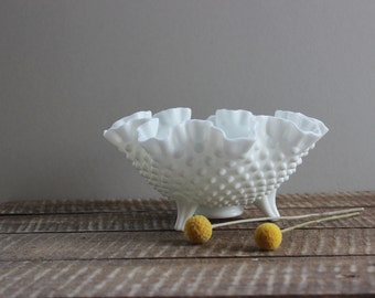 Vintage Footed Fenton Hobnail Milk Glass Bowl