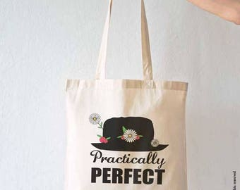 Practically perfect tote bag-Mary Poppins tote bag-cool tote bag-shopping bag-christmas gift-gift idea-gift for her-birthday gift-NPTB112