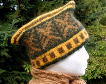 Glengarry Felted Knitted Hat with Tree Pattern  green gold brown tan wool mohair