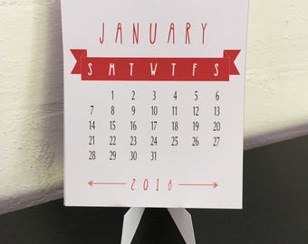 2018 Desk Calendar for CD Jewel Case - Red & White - Printable PDF, Instant Download