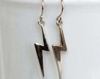 Sterling Silver Lightning Bolt Earrings, Lightning Earrings