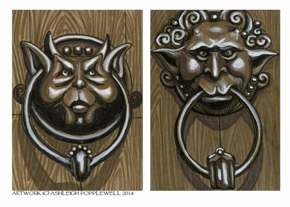 Items similar to Labyrinth Deaf and Mute Door Knockers Original Drawing Reproduction 5 x 7 on Etsy & Items similar to Labyrinth Deaf and Mute Door Knockers Original ...