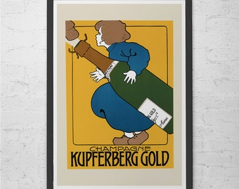 ART NOUVEAU POSTER Antique Champagne Ad 1900's ad Belle Epoque Wall Art Reproduction