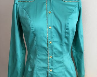 Western shirt pearl snap cowgirl bling teal and yellow paisley small