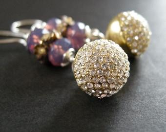 vintage crystal button earrings, vintage crystal pave earrings, swarovski elements earrings, dangle earrings, violet earrings