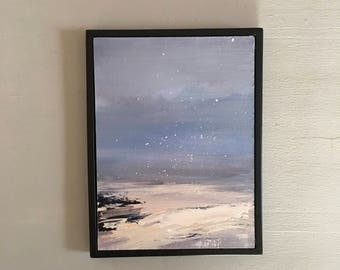Winter Beach Painting -Snowing Painting- Framed- Black Frame- Small Painting - Original Painting- 6 x 8  -Contemporary Small Painting