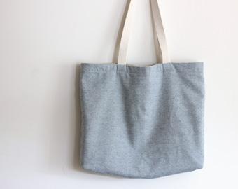 Chambray Denim Beach Bag - Bucket Bag - Reversible Bag - Tote bag