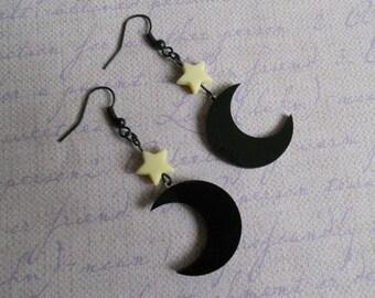 moon and stars Earrings pastel goth Lolita fairy kei