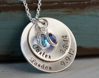 Hand Stamped Mommy Necklace - Personalized Sterling Silver Jewelry - My Kids Big Stack of two