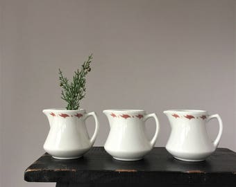 Three 1960s Restaurant Ware Creamers, Vintage Saxony by Mayer China, Three Cream Pitchers, Mid Century Hotel Diner Dinnerware