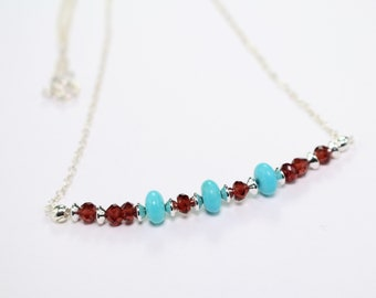 Garnet and Turquoise Necklace-Garnet Necklace-Beaded Turquoise Necklace-Modern Gemstone Necklace-Dainty Turquoise Necklace-Gift For Her