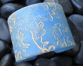 SALE Translucent Blue Cuff Bracelet Asian Style Dogwoood, Handmade Jewelry by theshagbag on Etsy