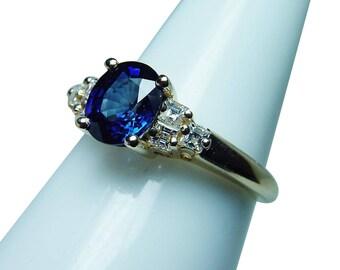 Vintage 18K Gold Kashmir Sapphire Asscher Diamond Ring Estate