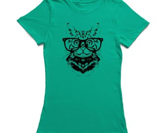Vintage Hipster Tabby Cat  Women's Kelly Green T-shirt