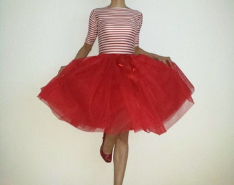 Tulle petticoat 55 cm red