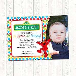Elmo Birthday Invitation with Picture, Elmo Birthday Invitation, Sesame Street Birthday Invitation, Digital Download JPEG File, You Print