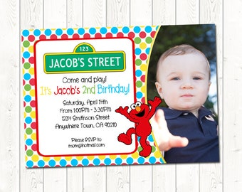 Elmo Birthday Invitation with Picture, Elmo Birthday Invitation, Sesame Street Birthday Invitation, Digital Download JPEG File, You Print