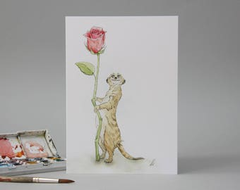 Hand drawn card: Meerkat Lovin' //illustration // cute valentines for her // just to say i love you // unusual