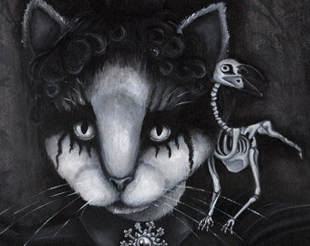 Creepy Cat and Raven Skeleton, Black and White 11x14 Fine Art Print