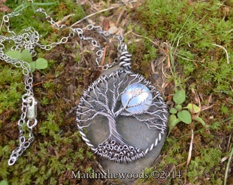 Made to Order .999 Fine Silver Tree of Life Double Sided on Sterling Silver Chain Gift Boxed Priority Ship in USA