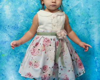 Baby baptism dress, Christmas baby dress, Baby girl dress, Christening dress, White baby dress, Baby gift, Floral girl dress, Party dress