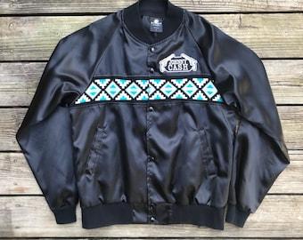 JOHNNY CASH Vintage 80s Black Sheep Cowboy Bomber Jacket Men's Size L