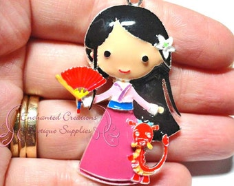 "2"" Mulan With Mushu Inspired Charm, Chunky Pendant, Keychain, Bookmark, Zipper Pull, Chunky Jewelry, Purse Charm"