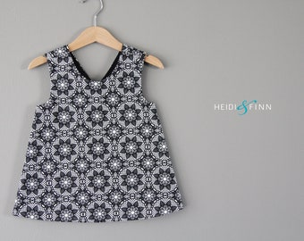 Modern Lace Sweet pinafore 12m 2t 3t 4/5t  tunic top black white monochrome spring summer cross over back