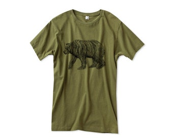 Mens Grizzly Bear Shirt - Custom Color Tshirt - Green Bear Shirt - Small, Medium, Large, XL, 2XL - Guys Bear Shirt (14 Color Options)