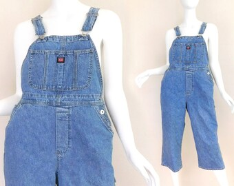 Sz M 90s Cropped Denim Overalls / Dungarees - Women's High Water Cpri Length Stone Wash Union Bay Baggy Bib Overalls - Medium