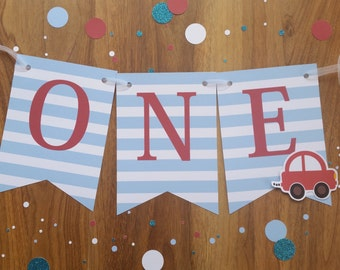 Little Red Car ONE High Chair 1st First Birthday Custom Made Smash Cake Photo Shoot Bunting Banner Birthday Decor