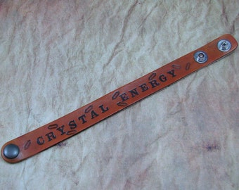 Crystal Energy Hand Stamped Leather Bracelet, Stamped Leather Cuff, Crystal Energy Cuff, Crystal Lover