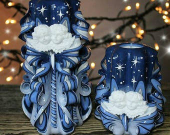 Magic night - Christmas gift - Carved candle - Blue candle - Unusual gift