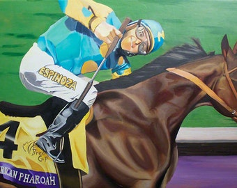 "American Pharoah original  32""X18"" oil painting Triple Crown Winner"