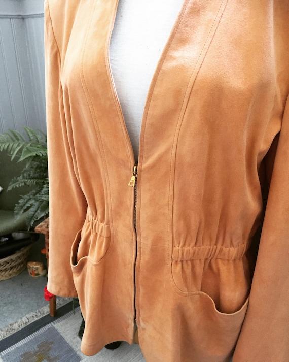 Girls night out jacket/Vera /Pelle/80s/vintage/suede/jacket/blush/gold hardware/vera pelle