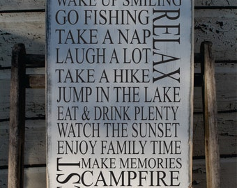 Cabin Rules Sign primitive Typography Word Art  12x24