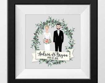 Custom Couple Family Portrait Illustration {drawing valentines wedding engagement custom gift illustrated portrait cartoon anniversary}
