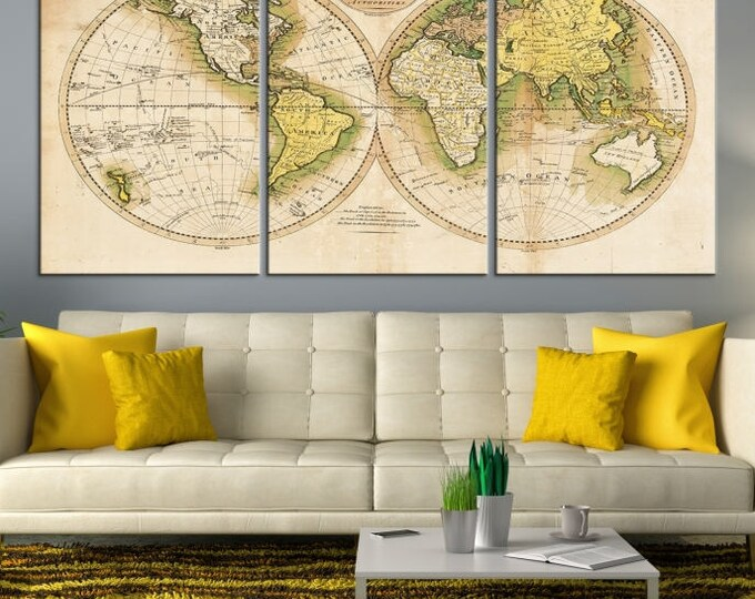 Antique World Map - World Map Canvas Prints