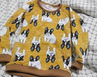 French Bulldog French Baby Terry Knit Fabric by Yard, Width 150cm (59 Inch)