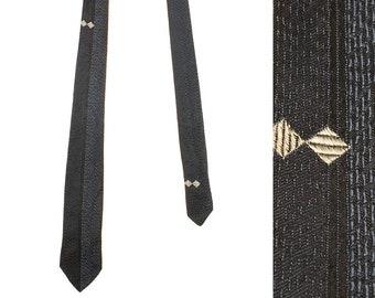 1960s brocade skinny tie • blue & black vintage necktie