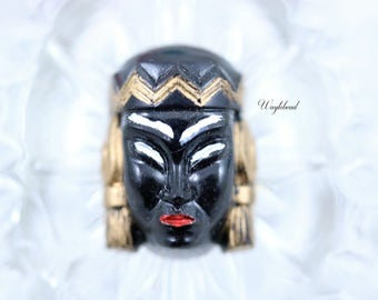 Vintage Asian Princess Face Woman Head Cabochon Black - 1