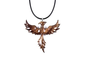 Phoenix Pendant, Phoenix Necklace, Phoenix Jewelry, Wood Phoenix Rising Necklace Pendant, Firebird Necklace, Firebird Pendant, Wood Jewelry