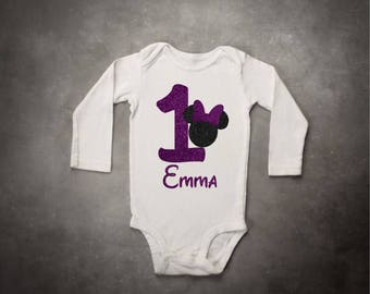 Girls Minnie Mouse Purple Birthday Top T Shirt or Onesie with add on Purple Tutu and Purple Sequin Bow