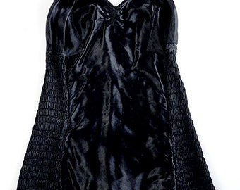 Vintage 1930s fabulous burlesque style black satin swimsuit