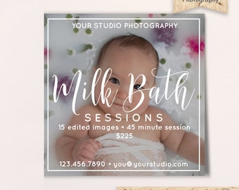 Milk Bath Photography Session, Mini Sessions Template, Photography Marketing, Photoshop Template, PSD Flat Card, Instagram, Instant Download