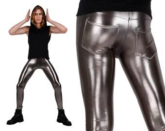 Mens Leggings w. Jeans Back, Meggings, Metallic Leggings, Mens Festival Pants, Burning Man Men, Festival Clothes Men, Glam Rock, LENA QUIST